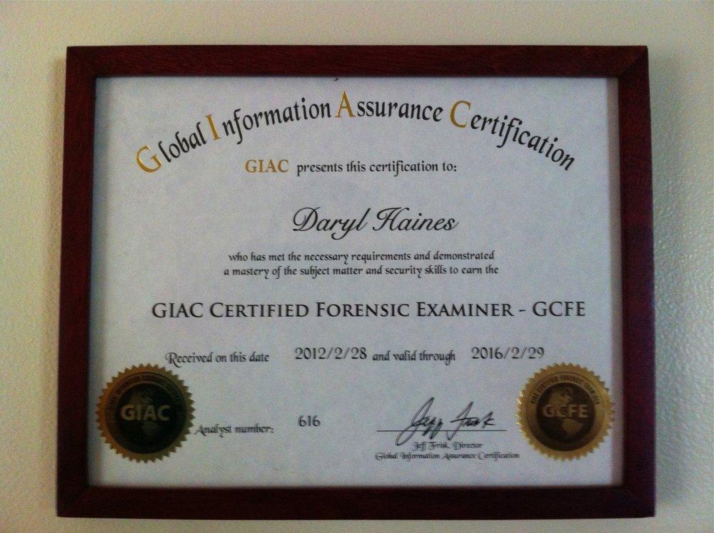 GCFE Certificate